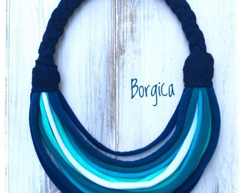 Blue Rainbow - multistrand upcycled necklace, textile jewelry, eco friendly, gift ideas, summer accessories, recycled tshirt yarn necklace