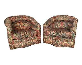 vintage pair of milo baughman inspired swivel club chairs