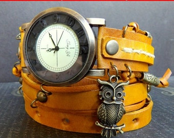 Yellow leather watch, Leather wrist watch, Bracelet watch, Owl watch, Leather jewelry, Gift for her