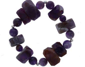 Purple Bracelet, Amethyst, Statement Bracelet, Stering Silver Beads, Stretch, One Size, Natural Stone, Wholesale
