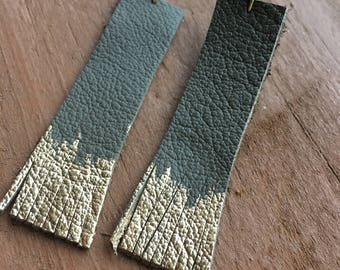 Gold and Gray Leather Earrings