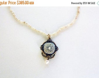 ON SALE Victorian seed pearl pendant necklace 14 k yellow gold pendant 1800s