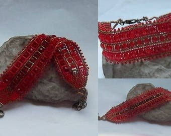 Red and bronze seed beads woven bracelet