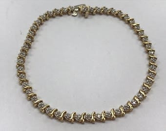 "14K Yellow Gold 1 CTW DIAMOND 7.25"" Tennis Bracelet 8 Grams!!"