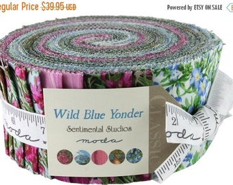 Anniversary Sale Wild Blue Yonder Jelly Roll 40 2.5-inch Strips Moda Fabrics~Fast Shipping,JR336