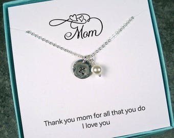 Personalized Mom Gifts, Mom Jewelry, Mothers Day, Gifts for Mom, Birthday Gifts for Mom, Hammered, Initial Charm, Custom, Sterling Silver
