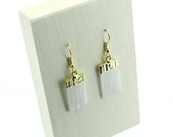 Gold Selenite Earring