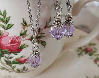 Victorian era style earrings and matching necklace set. Lilac swarovski crystals