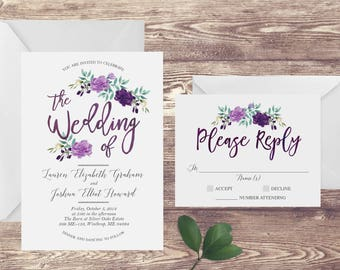 The Floral Watercolor Wedding Invitation and RSVP Set, Purple Wedding Invitation, Watercolor Wedding Invite, Customized Wedding Invite