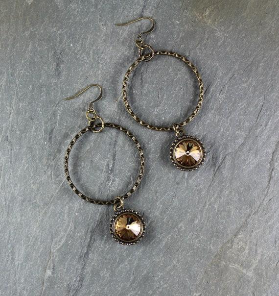 Golden Topaz Swarovski Crystal hoop earring