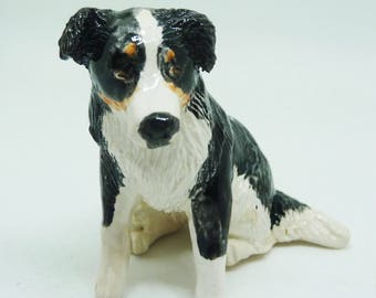 Border collie porcelain miniature sculpture