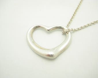 Tiffany & Co. Sterling Silver Elsa Peretti Medium Open Heart Pendant Necklace 16""
