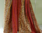 RESERVED FOR GWEN Happy Birthday! Vintage silk Kantha, wrap, large silk scarf, reversible, red and beige, table runner, home decor,
