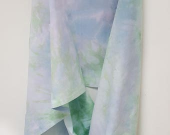 Hand Dyed Recycled Cotton Infinity Scarf in Lavender & Green