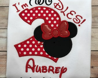 2nd Birthday, I'm Twodles, Minnie Mouse Embroidered T-Shirt, Girls Disney Birthday Outfit, Minnie Mouse Shirt or Onesie
