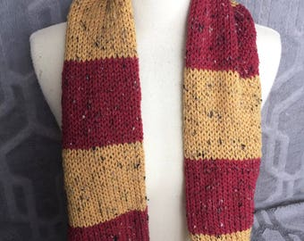 Kansas City Chiefs scarf, Tweed Scarf, Red and Yellow scarf, 49ers scarf, Striped scarf, Red and Gold