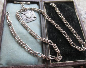 VINTAGE Double Albert  Pocket Watch Chain, STERLING Silver, FIGARO Chain, Maltese Cross Fob 1901, Full English Hallmarks, Necklace