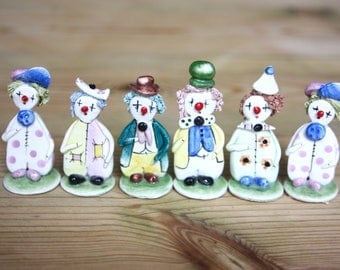 Six,hand-made ceramic clowns made by Zampiva.