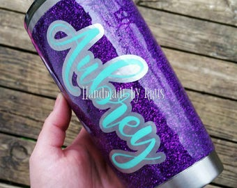 Glitter stainless steel tumbler with lid. Personalized glitter tumbler