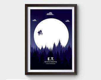 E.T. - A3 movie poster, film poster, minimalist movie poster, ET, scifi poster, film poster, scifi, minimal print, Extra-Terrestrial