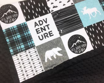 Adventure Baby Blanket, blue gray black Lumberjack Minky blanket moose bear blanket, woodland blanket blanket boy blanket birth gift blanket