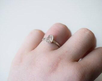 Rough Diamond Ring Size 8 Ring Raw Diamond Ring Uncut Diamond Engagement Ring Unique Engagement Ring White Diamond Ring Sterling Silver Ring