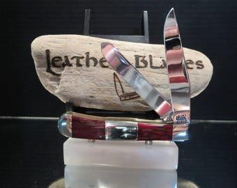 Case Knife, Trapper Custom Red Jasper / Stainless Steel Handle, Bonus sheath