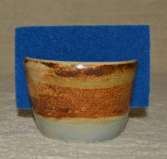 Sponge Holder, Sponge, Rustic, Brown, Blue, Kitchen, Stoneware,