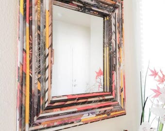 Recycled magazine Mirror decor-Upcycled Magazine, Eco-friendly mirror decor, Unique mirror