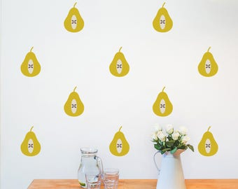 Set of 36 Pear Wall Stickers - Decal - Pear Decor - Wall stickers - home decor - wall stickers kitchen