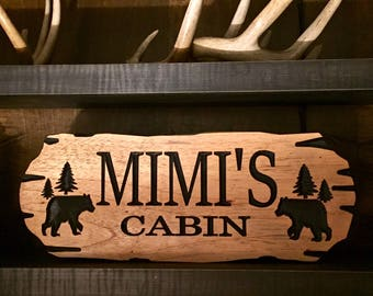 Outdoor Carved Signs, Wooden carved Signs, Custom Wood Sign, Pine Trees and Bear, Camp Sign, Cabin Decor, Lakehouse Sign, Cottage Sign,