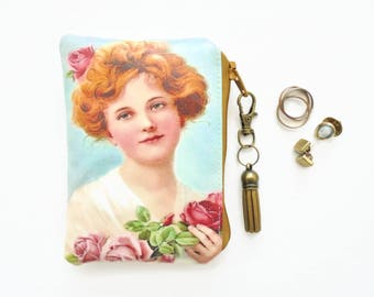 Waterproof lipstick holder, jewellery bag, lip balm holder, business card, credit card Wallet, coin purse, vintage girl with flowers