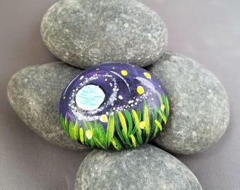 Moonlight Garden Painted Rock