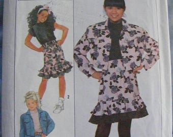 ON SALE 35% OFF Girls' Ruffle Skirt Top Jacket 1980's Simplicity Sewing Pattern 9263 size 7 8 10 12 14