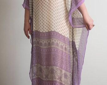 Maxi long silk chiffon caftan. Luxury sheer fabric. Cream and purple color.