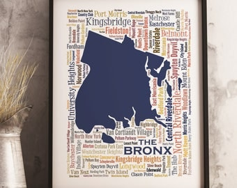 Bronx Typography Map Art Print, Bronx Poster Print, Bronx neighborhood map print, Bronx New York Art, Choose your color and size