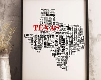 Texas Map Art, Texas Art Print, Texas City Map, Texas Typography Art, Texas Wall Decor, Texas Moving Gift