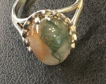 Silver moss agate ring
