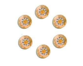 6 orange15 mm with Rhinestone buttons