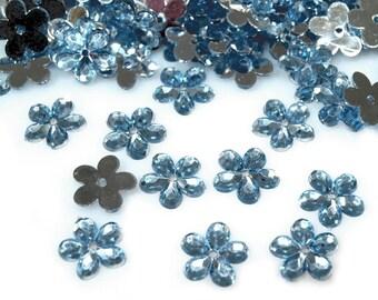 50 flowers blue transparent Crystal