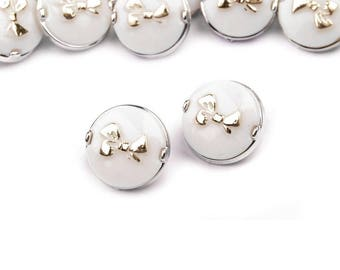 6 buttons 11.3 mm bow and white plastic Silver Gold