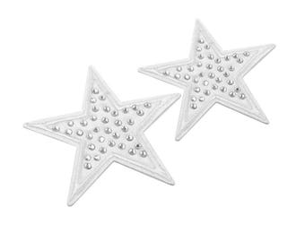 2 Iron on Patch Star with Rhinestones