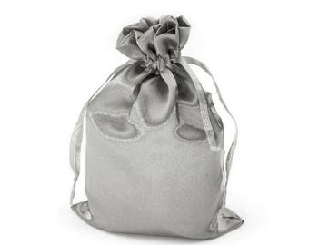 3 bag bag satin 11 x 17 cm silver