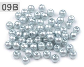 09-B - 50 g of beads 6 mm mother of Pearl round glass