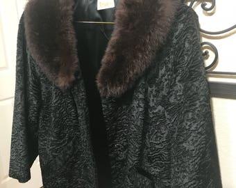 1950's Ladies Persian Lamb wool Evening Jacket with Mink Collar