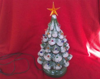 Christmas Tree, Lighted, Ceramic tree, vintage Christmas decorations, multicolored Lights,  16.5 inches,, electric, handmade tree