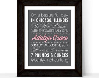 Personalized baby gifts nursery wall decor, new baby girl gift, subway art birth announcement, baby nursery art, birth stats wall art