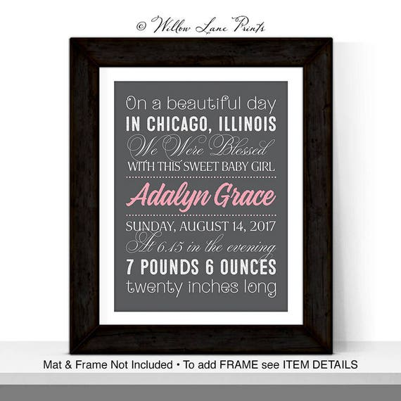 Personalized baby gifts nursery wall decor new baby girl like this item negle Choice Image
