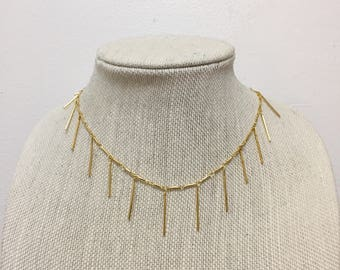 Gold spike dangle necklace