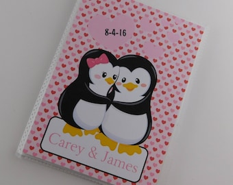 Penguin Photo Album Valentines Day Gift  Wedding Present Engagement Anniversary Honeymoon Valentine's Present Pink Red 4x6 or 5x7 290